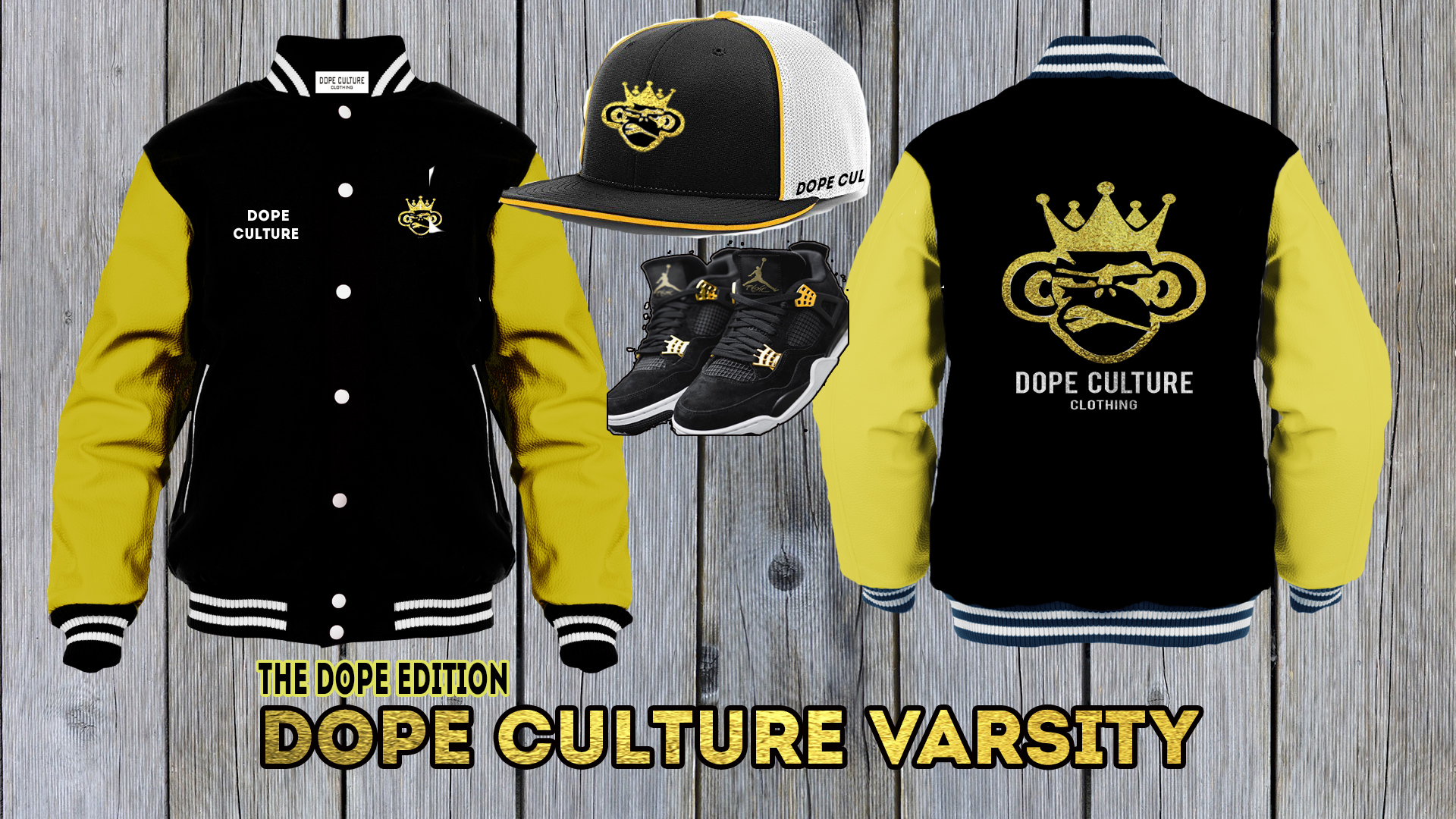 Dope-Culture-Varsity-Jacket-2-gold-with-sneakers-hat-1